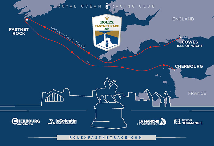 The route of the 2021 Rolex Fastnet Race