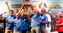 Sergio Sagramoso's Puerto Rican Melges 32, Lazy Dog lift the Lord Nelson Trophy at 2017 Antigua Sailing Week